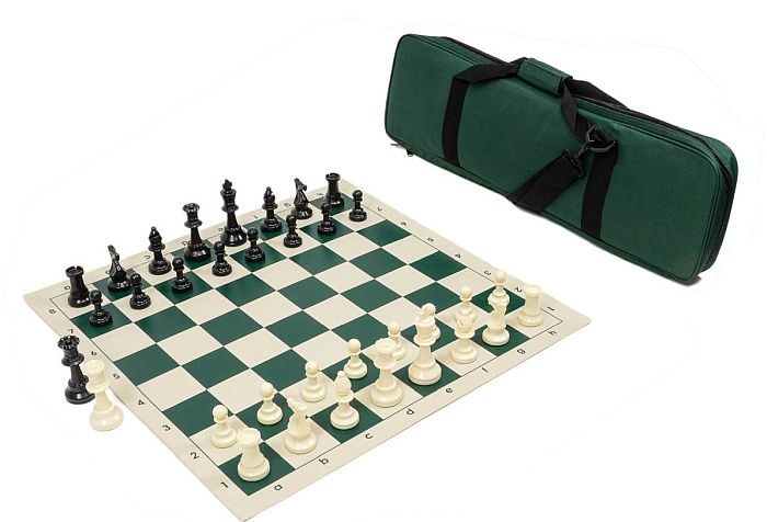 High class vinyl and travel bag: the best tournament chess set that's also easy to move around.