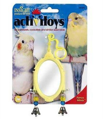 This is a cheap, well-designed mirror for small birds like budgies.