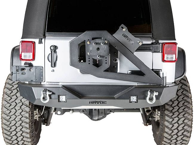 Havoc's heavy duty rear bumper with tire carrier is a Wrangler's best protection friend.
