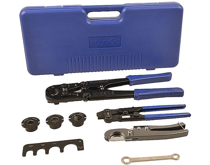 IWISS is the best PEX crimp tool set. Why? Because of all the extra jaws it includes!