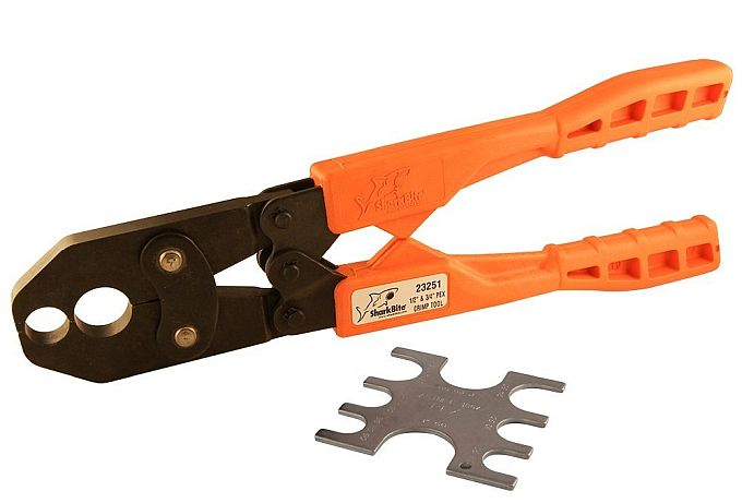 SharkBite's crimp tool for PEX pipes is affordable and, as far as I know, made in the US. What a combo!