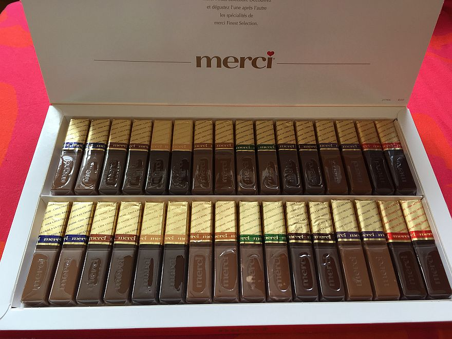 Here are all the Merci chocolate flavors in a box of 32 (four of each taste)