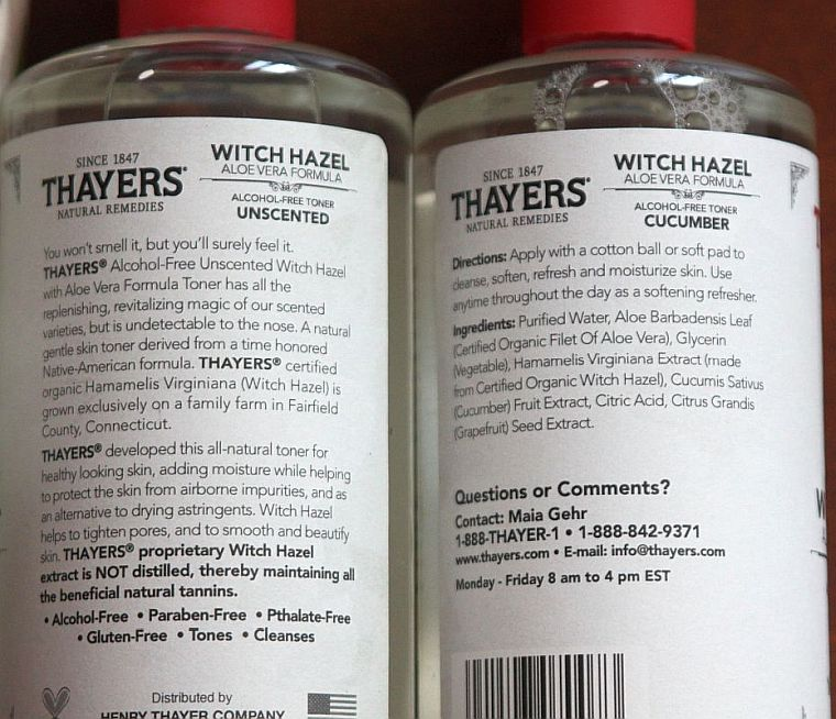 Here are the Thayers witch hazel ingredients. Remember: no alcohol here!