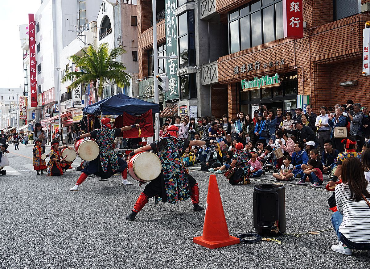 Street dancers performing on Kokusai street. Beautiful, energetic spectacle.