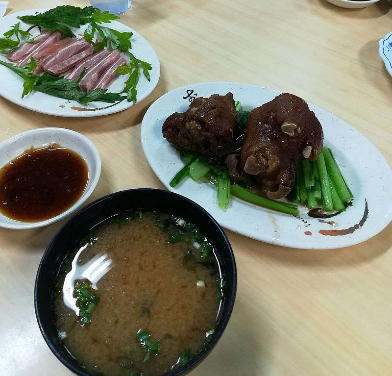 A small meal in Makishi market. Features the Okinawan specialty - pig's feet!