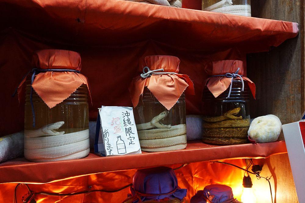 Habushu: Okinawa's famous snake sake. Very expensive, but also incredibly hard to prepare!