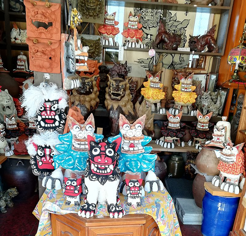 Tsuboya pottery district is full of souvenir shops featuring shiisa, Okinawa's guardian statues.