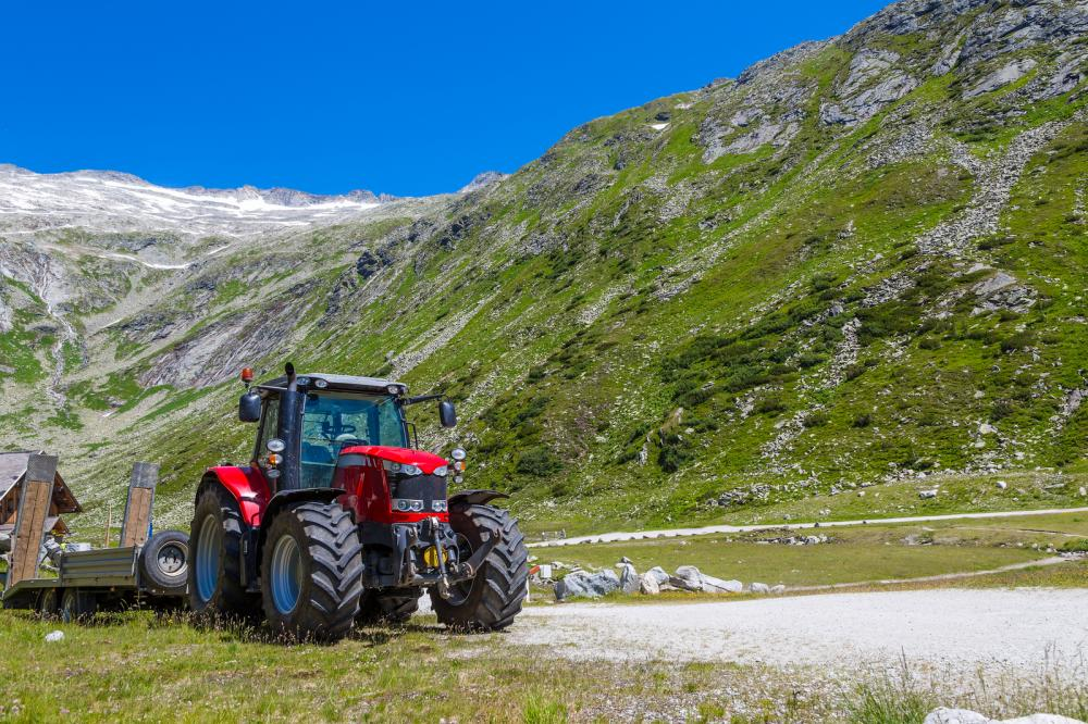 Tractor with Mountains