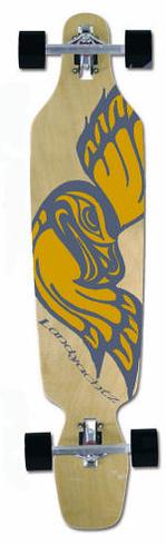 painted drop through longboard.