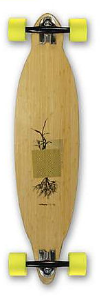 Close up of a pintail longboard.