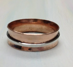 Spinner Ring Made of Copper and Sterling Silver
