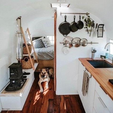 Cozy tiny home with a dog protecting the bedroom